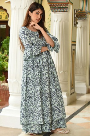 Charming Pista Printed Muslin Plazzo Suit And Bottom