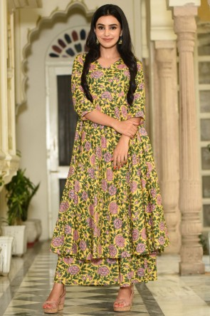 Party Wear Yellow Printed Muslin Plazzo Suit And Bottom