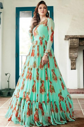 Light Green Faux Georgette Hand Work And Printed Abaya Style Anarkali Suit And Dupatta