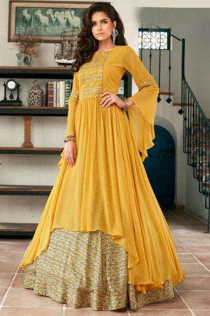 Faux Georgette Hand Work Mustard Abaya Style Anarkali Suit With Net Dupatta