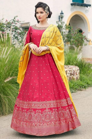 Printed And Hand Work Magenta Silk Fabric Abaya Style Anarkali Suit And Crepe Bottom