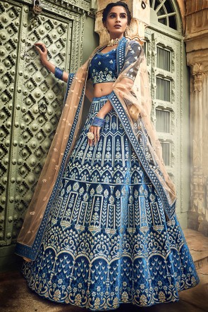 Delightful Blue Gotta Patti And Zari Work Velvet Fabric Lehenga Choli With Net Dupatta