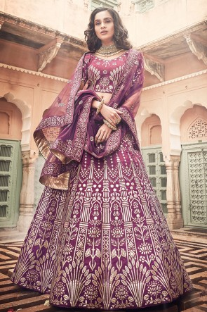Gotta Patti And Zari Work Designer Art Silk Fabric Violet Lehenga Choli With Net Dupatta