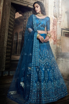 Heavy Designer Blue Zari And Sequins Work Art Silk Lehenga Choli With Net Dupatta
