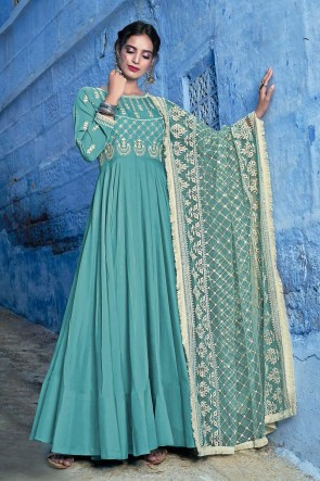 Rama Muslin Embroidered Abaya Style Anarkali Suit And Dupatta