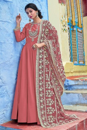 Embroidered Rust Muslin Fabric Anarkali Suit And Dupatta
