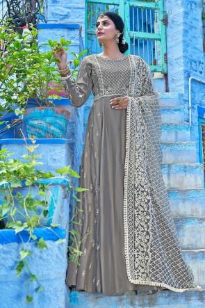 Muslin Designer Grey Embroidered Anarkali Suit And Dupatta