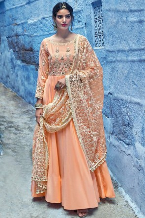 Designer Peach Embroidered Muslin Abaya Style Anarkali Suit And Dupatta