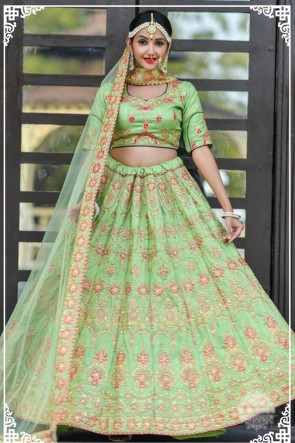Delightful Green Resham Work Silk Fabric Lehenga Choli With Net Dupatta