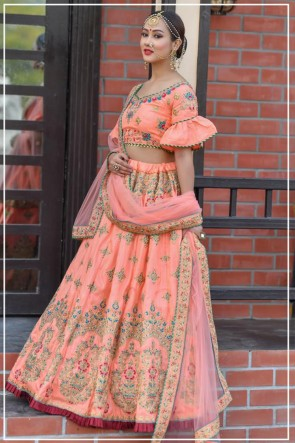 Peach Resham Work Silk Fabric Lehenga Choli With Net Dupatta