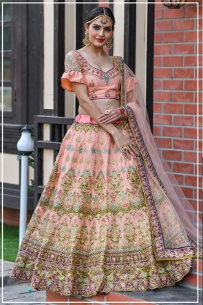 Pink Resham Work Silk Fabric Lehenga Choli With Net Dupatta