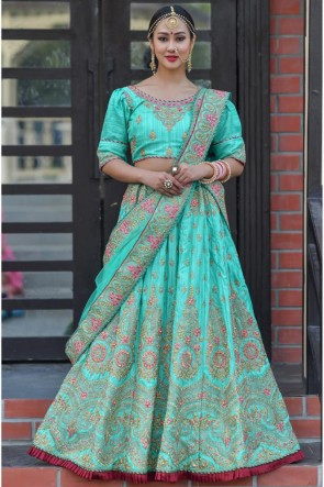 Sky Blue Resham Work Silk Fabric Designer Lehenga Choli With Net Dupatta