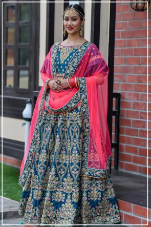 Resham Work Designer Silk Fabric Blue Lehenga Choli With Net Dupatta