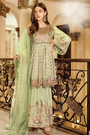 Green Georgette Satin Embroidered Plazzo Suit Whit Nazmin Dupatta