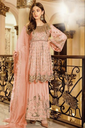 Embroidered Peach Georgette Satin Fabric Plazzo Suit Whit Nazmin Dupatta