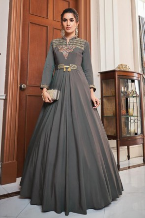 Grey Silk Embroidered Gown