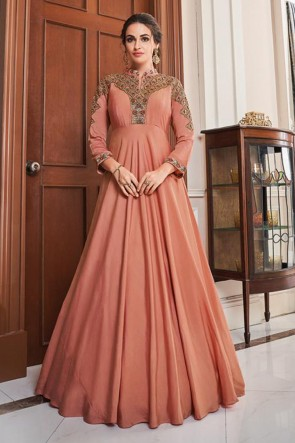 Embroidered Rust Silk Fabric Gown