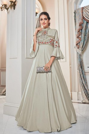 Silk Designer Silver Embroidered Gown