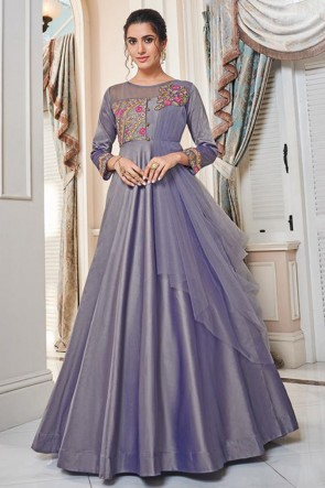 Designer Purple Embroidered Silk Gown