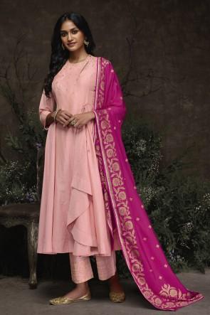 Pink Silk Hand Work Salwar Suit With Jacquard Dupatta