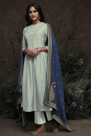 Hand Work Sky Blue Silk Fabric Salwar Suit With Jacquard Dupatta