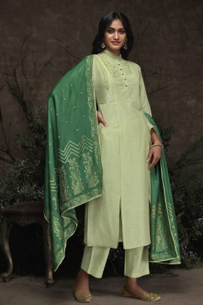 Silk Designer Pista Hand Work Salwar Suit With Jacquard Dupatta