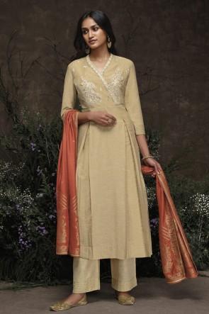 Designer Cream Hand Work Silk Salwar Suit With Jacquard Dupatta