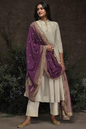 Silver Silk Hand Work Salwar Suit With Jacquard Dupatta