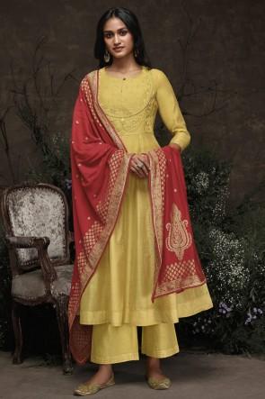 Hand Work Yellow Silk Fabric Salwar Suit With Jacquard Dupatta