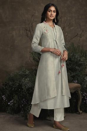Party Wear Silver Silk Hand Work Salwar Kameez