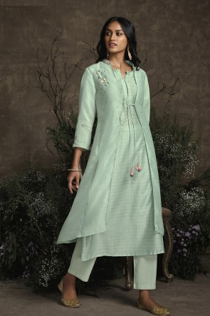 Hand Work Sky Blue Silk Fabric Salwar Kameez