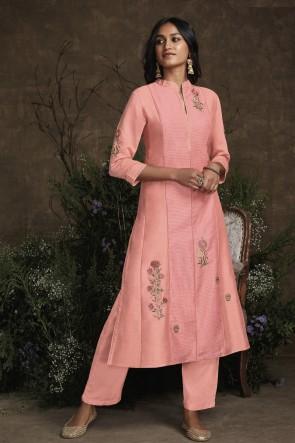 Beautiful Peach Silk Hand Work Designer Salwar Kameez