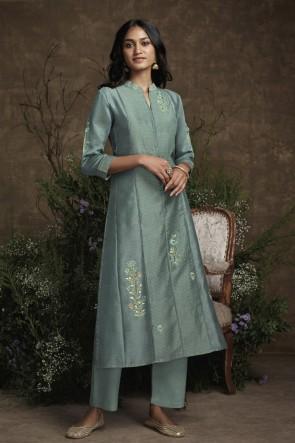 Charcoal Hand Work Silk Fabric Salwar Kameez