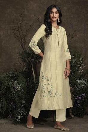 Silk Off White Hand Work Designer Salwar Kameez