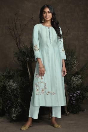 Party Wear Sky Blue Silk Hand Work Salwar Kameez