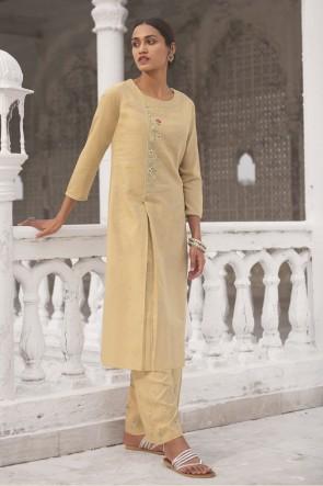 Designer Cream Hand Work Cotton Salwar Kameez