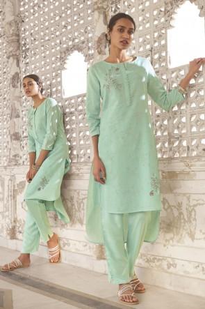 Cotton Sky Blue Hand Work Salwar Kameez