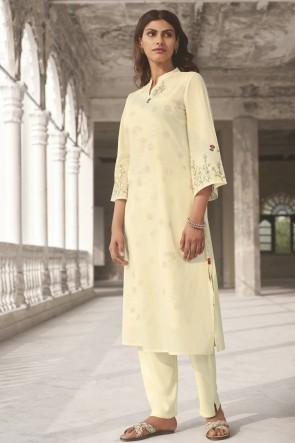 Hand Work Off White Cotton Fabric Salwar Kameez