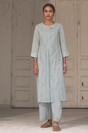 Hand Work Silver Cotton Fabric Salwar Kameez