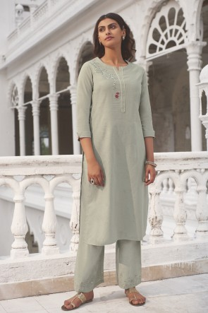 Designer Grey Hand Work Cotton Salwar Kameez