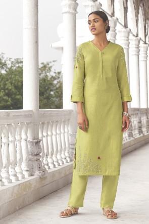 Cotton Pista Hand Work Salwar Kameez