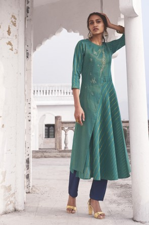 Charming Sea Green Cotton Embroidered Fancy Top