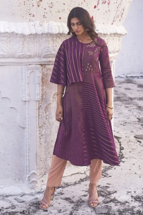 Purple Cotton Embroidered Fancy Top