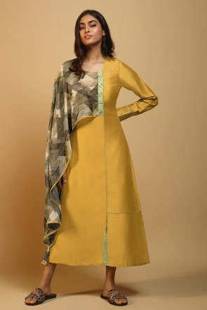 Excellent Printed Yellow Silk Kurti