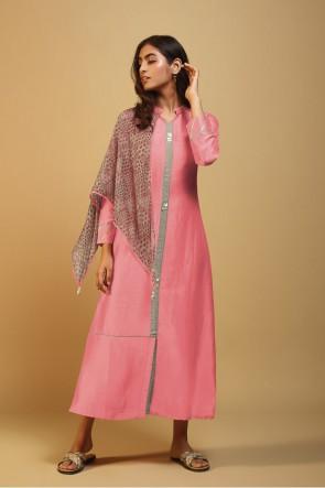 Printed Pink Silk Kurti