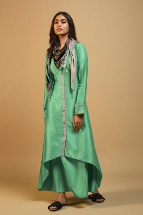 Charming Sea Green Silk Printed Kurti
