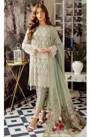 Charming Pista Embroidered Georgette Salwar Kameez With Nazmin Dupatta