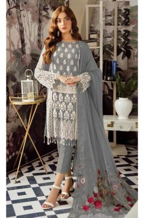 Marvelous Grey Embroidered Georgette Salwar Kameez With Nazmin Dupatta