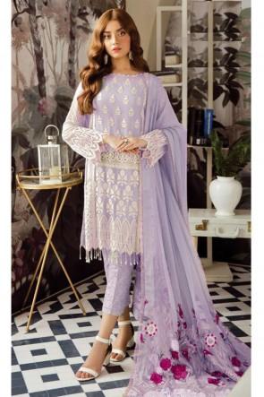 Lovely Lace Work Violet Georgette Salwar Kameez With Nazmin Dupatta