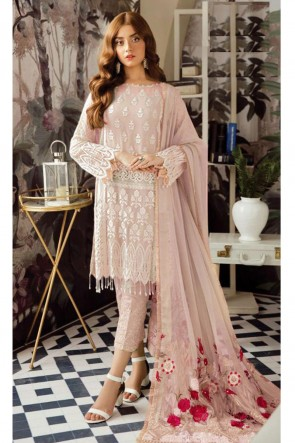Peach Embroidered Georgette Salwar Suit With Nazmin Dupatta